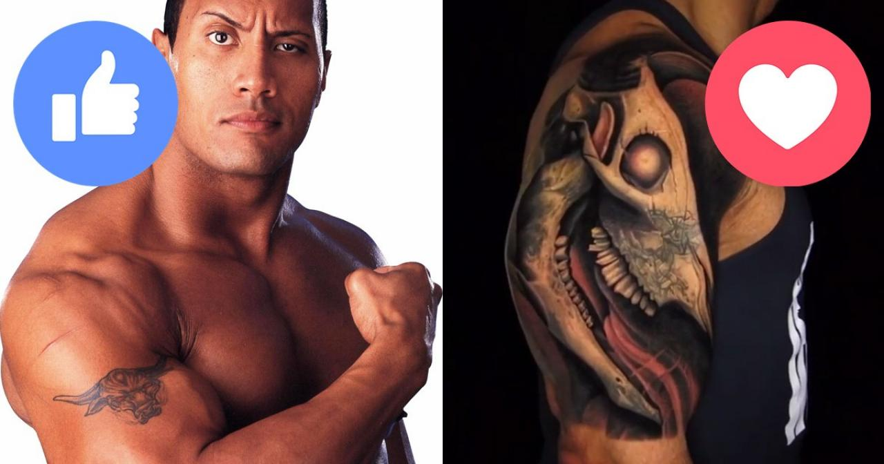 Which is better the rock 39 s old tattoo or his new one for Rocks new tattoo